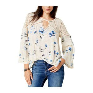 Lucky Brand 🌸Floral Lace Mix Boho Peasant Top